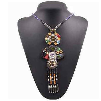 Bead Tassel Vintage Tibetian Colorful Totem Pendant Long Necklace Tribal Women