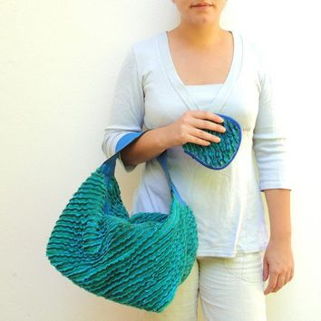 Teal Fordite Hobo Bag Leather and Faux Chenille by StarBags