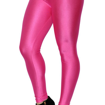 BadAssLeggings Women's Shiny Candy Neon Leggings Small Hot Pink