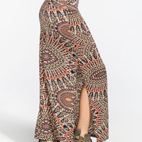Full Tilt Side Slit Maxi Skirt Multi  In Sizes
