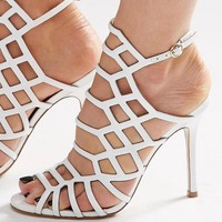 Steve Madden | Steve Madden Slither White Patent Caged Heeled Sandals at ASOS