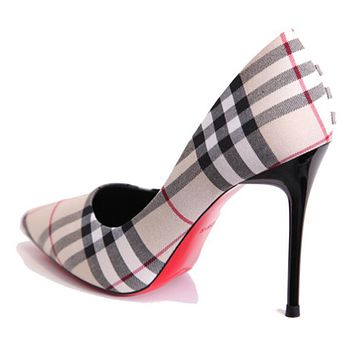 New High Heels Cowboy Grid Pointed Show Thin Fine High Heels Light Mouth Single Shoes Business Women Shoe