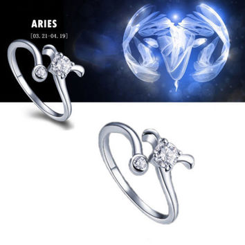 925 Sterling Silver 12 Constellations Zodiac Crystal Ring (Aries)