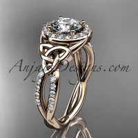 14kt rose gold diamond celtic trinity knot wedding ring, engagement ring CT7127