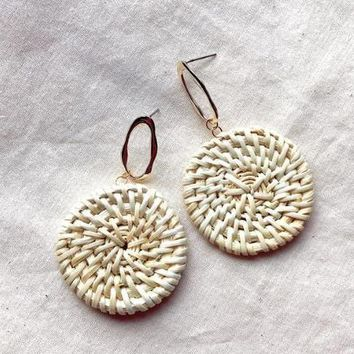Rattan Vine Straw Weave Circle Earrings