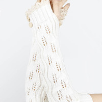 Lace Button Detail Long Wrist Warmers in White