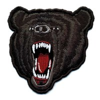 "Embroidered Iron On Patch - Roaring Black Bear 4"" x 3.5"" Patch"