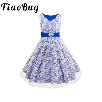 TiaoBug Kid Girls Floral Lace Tutu Dress V Neck Flower Girl Dresses for Weddings Evening Formal Party Pageant Prom Dresses 4-14Y