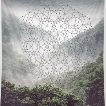 Mist Mountain Forest Geometric Circle Mandala Polyscape Wall Tapestry Yoga Meditation Mandala Wall Hanging