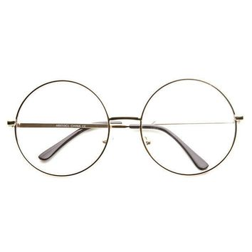 Large Oversized Metal Frame Clear Lens Round Circle Eye Glasses