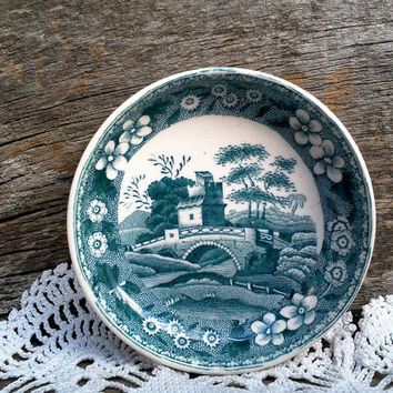 "Green Transferware Spode ""Christmas Greeting"" Butter Pat, Copeland Spode Tower, Castle, Green, White, England"