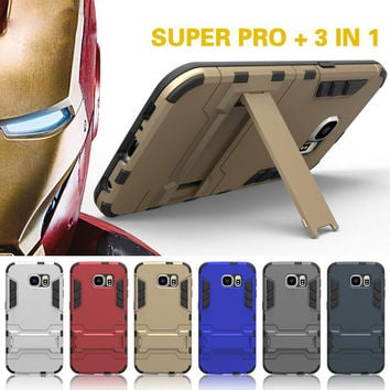 For samsung galaxy S5 S6 S7 edge s6 edge plus Case cover Dual Heavy Duty Hard Silicone case Iron Man Shield 3D Armor phone Case