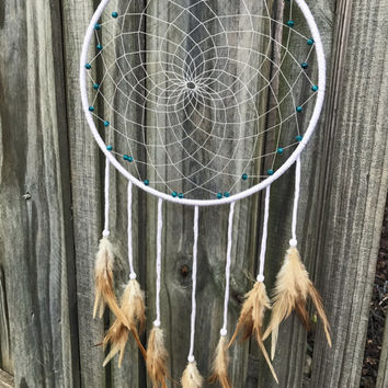 White and turquoise dream catcher, boho dreamcatcher, big dream catcher, bohemian dorm decor, wall hanging, traditional dream catcher