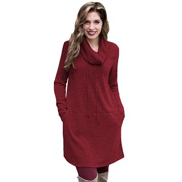Burgundy Drawstring Cowl Neck Sweatshirt Dress