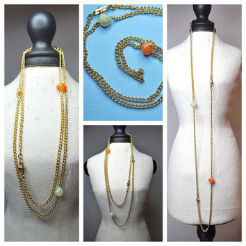 "SARAH COVENTRY Vintage, 1975 Nature's Treasure, Long 33"" Gold Chain Necklace With Faux Jade Stones & Fancy Beads, Organic Simplicity! #A541"