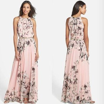 DCCKH3L Fashion Flower Print Round Neck Sleeveless Loose Beach Maxi Dress