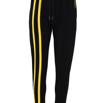 Stripe Panel Tracksuit Bottoms - Black