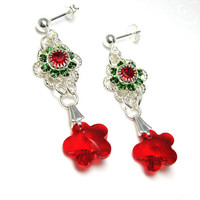 Christmas Earrings, Red Flower Earrings, Swarovski Crystal Elements Fancy Filigree Earrings, Red and Green Holiday Earrings, Holiday Fashion