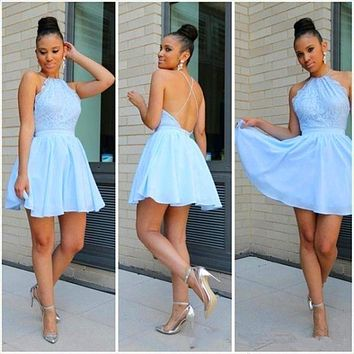 Sexy mini prom dresses 2017 short Chiffon backless spaghetti strap criss cross light blue cocktail dresses 2017 vestido de festa