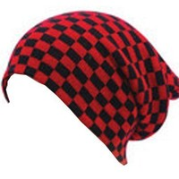 Oversized Check Beanie - Red - Buy Online at Grindstore.com