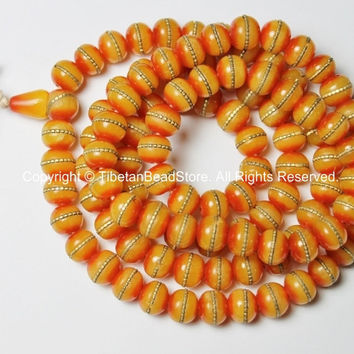108 Beads - Tibetan Amber Copal Mala Prayer Beads with Brass Inlays - Mala Making Supplies - Nepal Tibetan Amber Beads - PB87