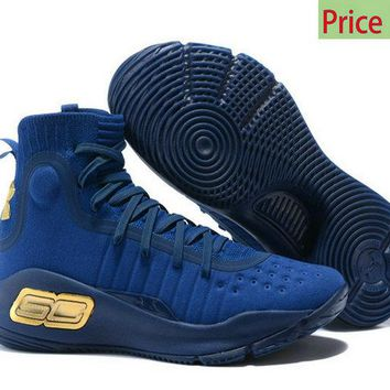 Genuine 2018 New Mens Under Armour Curry 4 Mid Basketball Shoes Dark Blue Navy Gold sneaker