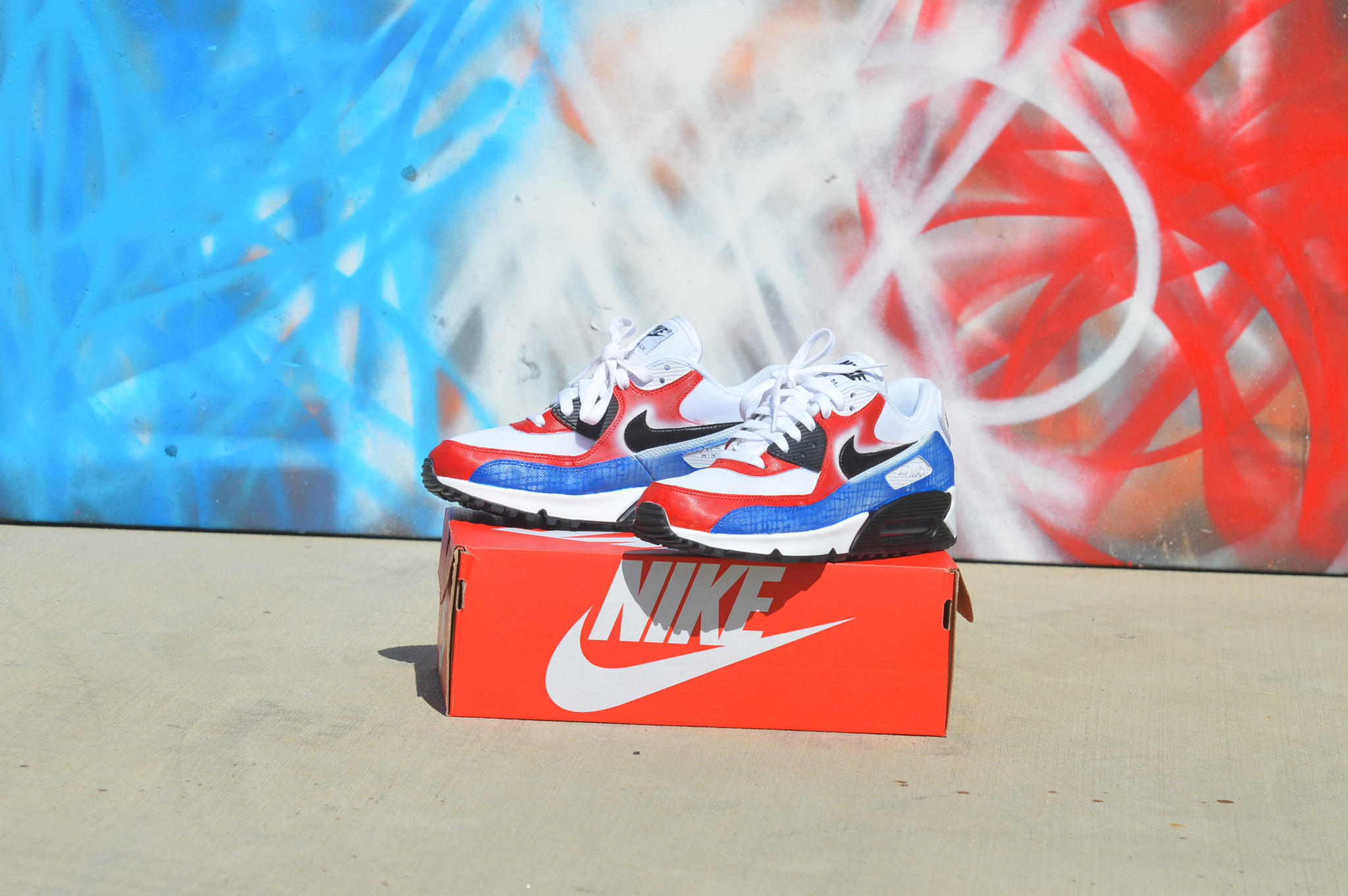 Custom Hand Painted Nike Air Max 90 Running Shoes - America Theme 03cfd5f69c40