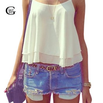 Lace Girl 2017 New Summer Women Tank Top Candy Color Double Layer Spaghetti Strap Chiffon Shirts Vest Singlets Crop Top