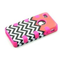 Heavy Duty 3 In 1 Hybrid Impact White Black Coral Chevron Pattern Pink Silicone Case Cover for Iphone 4 4S + Screen Protector