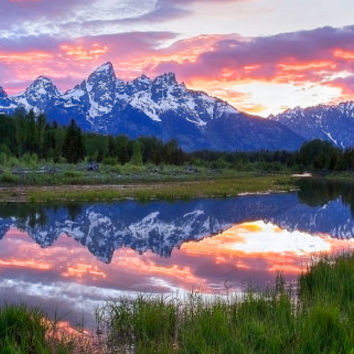 Large Wyoming Mountain Sunset, Landscape Panorama Canvas, Grand Teton National Park, Mountain Reflection Print, Large Wall Art Waterscape