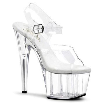 Clear Platform Ankle Strap Sandals 7 Inch Heels-Clear Fitness- Competition Shoes