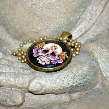 Skull Tattoo Flash Pendant by YssormDesigns on Etsy