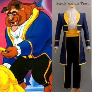 New  Adult Beauty and the Beast Belle Prince Adam Cosplay Costume For Men