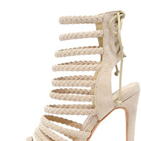 Braid Away Nude Suede Caged Heels