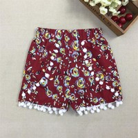 2017 New Fashion Baby Girls Summer Shorts Girl Cotton Gym Beach Shorts Pom Pom Shorts 30D