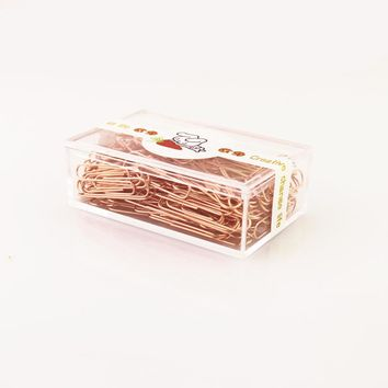 TUTU Rose Gold Fashion Paperclip Metal Paper Clips Photo Clip Paper Clips Decorative Gift Stationary Office Supplies H0089