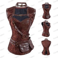 Brocade Overbust Jacket Steel Boned Steampunk Corset with Belt  Cap Coffee