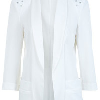 Cream Stud Shoulder Blazer - Coats & Jackets  - Apparel
