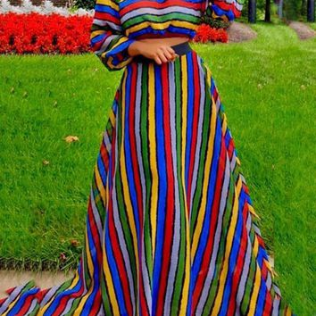 New Red Rainbow Striped Jamaica Off Shoulder Two Piece High Waisted Long Sleeve Party Maxi Dress