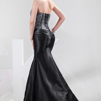 Mermaid Beads Sequined Strapless Front  Slit Evening Gown