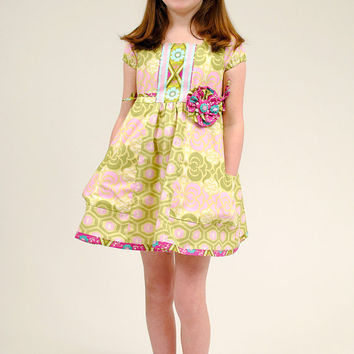 Euro Style Girl's Dress...Handmade, Girl Dresses, Pink, Green, Girl's Dress, Toddler Dress, 24 mos., Size 2 3 4 5 6 7 8,