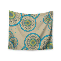 "Cristina Bianco Design ""Blue Green Mandala Design"" Blue Green Illustration Wall Tapestry"