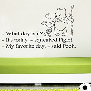 Wall Decals Quotes Vinyl Sticker Decal Quote Winnie the Pooh What day is it It's today squeaked Piglet Nursery Baby Room Kids Boys Girls Home Decor Bedroom Art Design Interior C30
