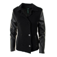 Lauren Ralph Lauren Womens Faux Leather Sleeves Basic Jacket
