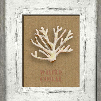 Printable digital art, white coral, beach cottage wall decor, burlap look stencil, shabby cottage chic, instant download, nautical wall art