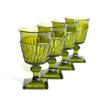 Olive Green Goblets by Indiana Glass (Set of 4) - Mt. Vernon Pattern, Water Goblet Size - Mid-Century Bar Serving - Vintage Home Kitchen