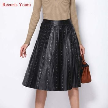 RYS5316 European 2018 Brand New Luxury Woman Genuine Leather Midi Skirt Ladies Locomotive Punk Bust Saia Rivet Black Faldas