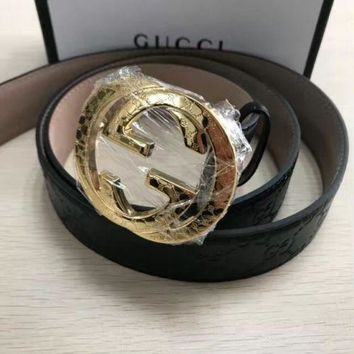 NWT Men's Gucci Black Leather Belt Gold G Buckle Web Discount 110cm Freeshipping