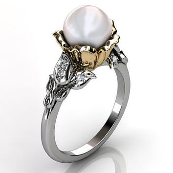 14k two tone white and yellow gold South Sea pearl diamond unusual unique floral engagement ring, bridal ring, wedding ring ER-1043-4