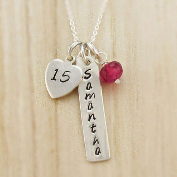 Quinceañera Necklace, Gift for Teen, Personalized Jewelry, 15th Birthday Present, Confirmation Jewelry, Hand Stamped Name Tag and Age